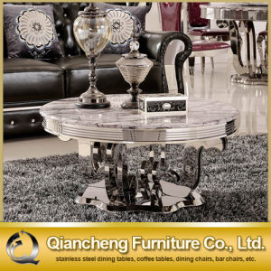 White Marble Stainless Steel Coffee Table for Sale pictures & photos