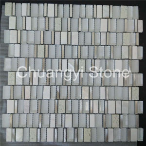 Glass Mixed White Marble Mosaic Tile for Bathroom Wall/Home Decoration