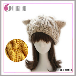 2015 Winter Wool Hat Knitted Beret Cute Cat Ears Twist Cap (SNMXM002) pictures & photos