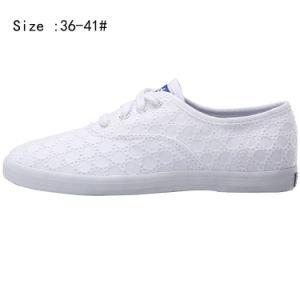 Hot Sale Women White Shoelace Canvas Shoes (WS160311-3) pictures & photos
