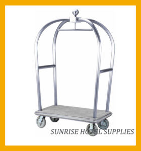 Hotel Stainless Steel Lugggage Trolley with Brushed Finish pictures & photos