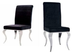 Modern Italian Leather Black Dining Chair with Stainless Steel Chrome Legs pictures & photos
