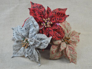 Colored Jute Fabric Flower Bow with Print