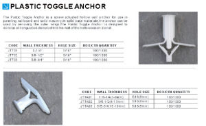 China Supplier Good Quality Low Price Plastic Toggle Anchor pictures & photos