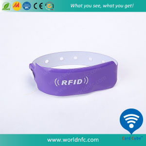 One Time Use Ntag213 RFID Vinyl Wristband for Festival pictures & photos