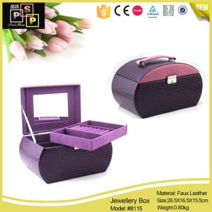 Cove Shape Jewelry Case with Handle (8115) pictures & photos
