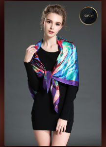 Digital Printing Large Silk Square Scarf Shawl pictures & photos