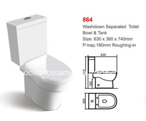 864 UK Water Closet, Ceramic Washdown Two-Piece Toilet pictures & photos