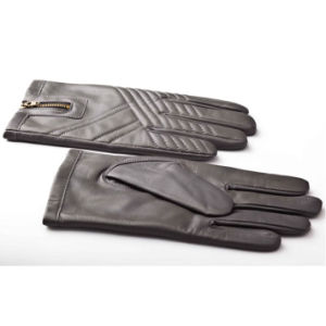 Men′s Fashion Zipper Leather Motorcycle Driving Gloves (YKY5184-2) pictures & photos