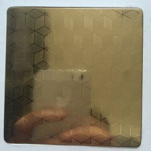 Tp201/304 Etched Gold Colour Stainless Steel Sheet with 8k