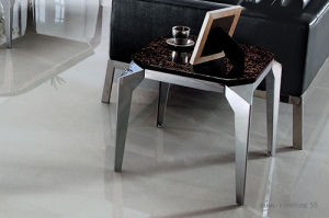 Modern Simple Stainless Steel Black Glass Top Sqaure End Table (JJ008) pictures & photos