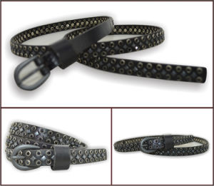 Rhinestone Genuine Leather Fashion Belt for Lady pictures & photos