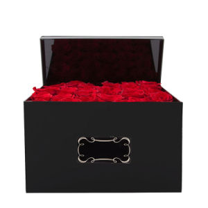 Black or Other Color of Acrylic Rose Box with Lid, with Company Logo Branded pictures & photos