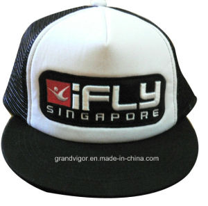 Flat Bill Snapback Trucker Cap with Custom Raised Embroidery Logo pictures & photos