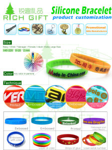 Logo Customized Debossed/Embossed/Printed Good Quality Silicone Bracelet Wristband pictures & photos