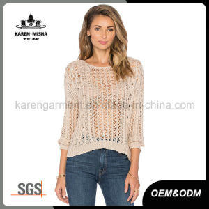 Fashion Hollow Tie Back Ribbed Sweater for Women pictures & photos