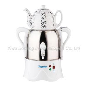 Turkish Samovar, Electric Kettle, Iranian, Russian Samovar with Ceramic Teapot 270-477