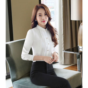 Business Women Blouse Long Sleeve Formal Shirt with 100% Cotton pictures & photos