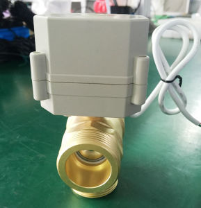 "3 Way 1 1/4"" G Dn32 Brass Vertical Type BSPP Male Thread Electric Ball Control Motorized Valve pictures & photos"