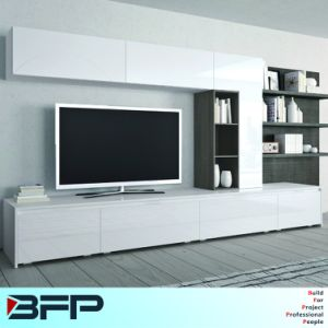 Wooden TV Furniture Table Cabinet Designs with Bookshelf pictures & photos