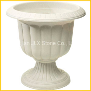 Beige Marble Stone Round Flowerpot for Garden Decoration pictures & photos