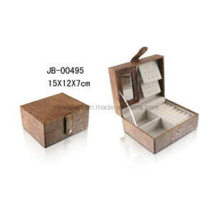 Hot Sales Square Shape Beige Leather Gift Jewelry Box pictures & photos