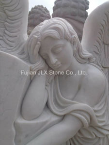 European Style White Marble Angel Tombstone pictures & photos