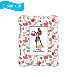 Blank White Ceramic Flowers Pattern Photo Frame for Sublimation Printing pictures & photos