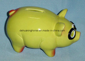 Funny Ceramic Piggy Bank with Glasses pictures & photos