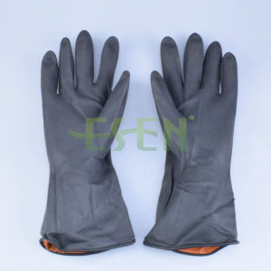 Latex Household Glove/ Popular Rubber Hand Gloves Flock Lined/ Black Color Kitchen Rubber Gloves pictures & photos