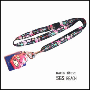 Personalised Cute Girl Lanyard with Name Badge Holders and Mobile Phone Cleaner for Sell pictures & photos