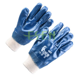 Nitrile Fully Coated Knit Wrist Jersey Lining Smooth Finish Gloves pictures & photos