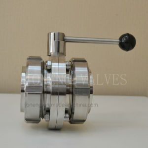 DIN Food Industrial Sanitary Stainless Steel Threaded Butterfly Valve with Union pictures & photos
