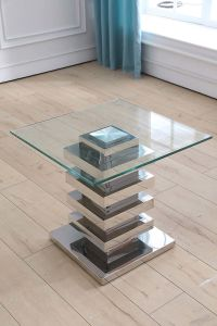 Clear Tempered Glass Top Stainless Steel Side Table for Corner pictures & photos