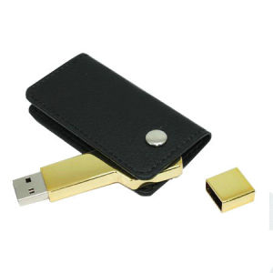 Golden Key and Leather USB Flash Drive with Customize pictures & photos