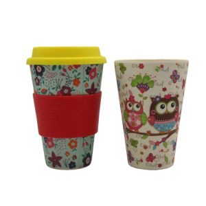 Bamboo Fiber Tableware Coffee Mug coffee Cup with Silicone Lid and Holder (HA91030) pictures & photos