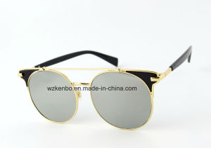 Round Frame with Extra Metal Combine Plastic Eyebrow Design Km16158 Fashion Sunglasses pictures & photos