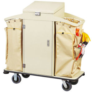 Lockable Lid and Door Hotel Housekeeping Maid Cart Trolley pictures & photos