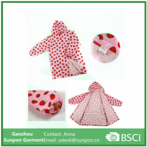 Children′s Lovely Long Raincoat with Fruit Design pictures & photos