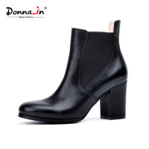 2017 Casual Lady High Heels Shoes Women Leather Chelsea Boots