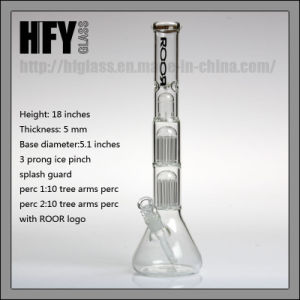 Hfy Glass Wholesale New Roor Glass Mini Double Beaker Smoking Glass Water Pipe with 10 Arm Tree Heady Tobacco pictures & photos