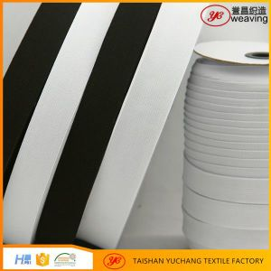 Eco-Friendly White Black Knitted Elastic Tape with Nrt Rubber pictures & photos