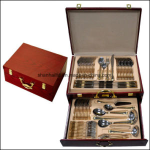 72-84PCS Dinnerware Dinner Set Flatware Cutlery Set Stainless Steel Gold Plated pictures & photos