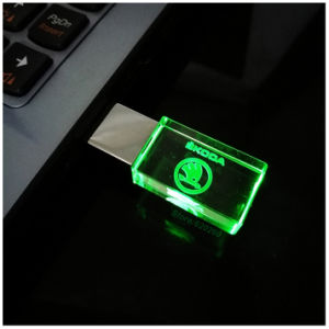 New Crystal USB Flash Drive 4GB 8GB 16GB 32GB for Car Logo USB Memory Drive Stick Pen Drive/Car Gift, LED Light pictures & photos