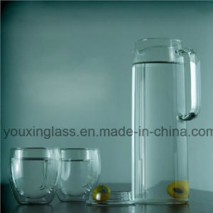 1.5L Clear Glass Water Jug with Side Handle and Lid for Cold Drinks/Glass Water Pitcher/Cold Water Pitcher/Fruit Juice Pot of Cold Water Pot pictures & photos