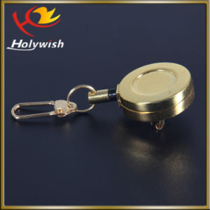 Custom Round Shape Metal Retractable Pull Reel with Holder pictures & photos