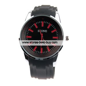 Skone Cool Quartz Watch Red Dial Black Band for Man