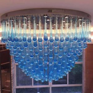 Blue Glass Water Drop Project Ceiling Lamp with Lobby pictures & photos