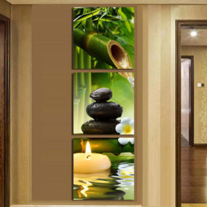 3 Panel Wall Art Oil Painting SPA Stone Bamboo Candels Home Decoration Canvas Prints Pictures for Living Room Mc-246 pictures & photos