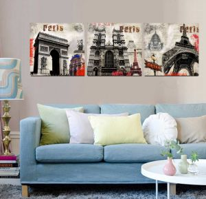 3 Panel Wall Art Oil Painting Paris Painting Home Decoration Canvas Prints Pictures for Living Room Framed Art Mc-261 pictures & photos